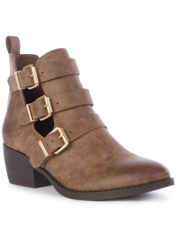 Brown Buckle Bootie