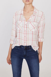 White/Red Plaid Boyfriend Shirt