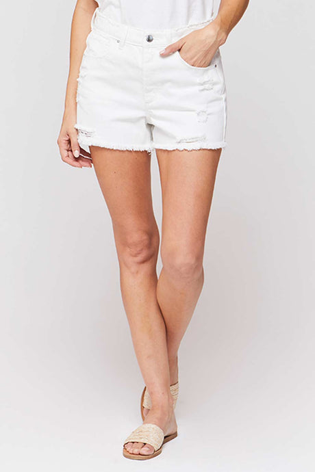 White High Rise 5 Pocket Shorts