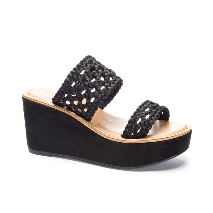 Black Woven Strap Wedge
