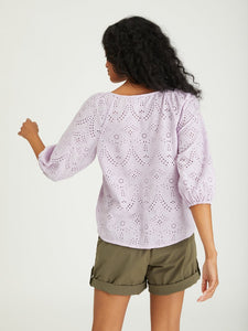 Button Front Lavender Eyelet Top