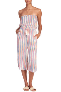 Multi Stripe Drawstring Romper