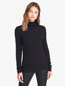 Black Essential Mock Neck L/S Top