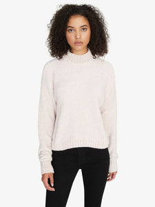 Lt Pearl Chenille Mock Neck Sweater