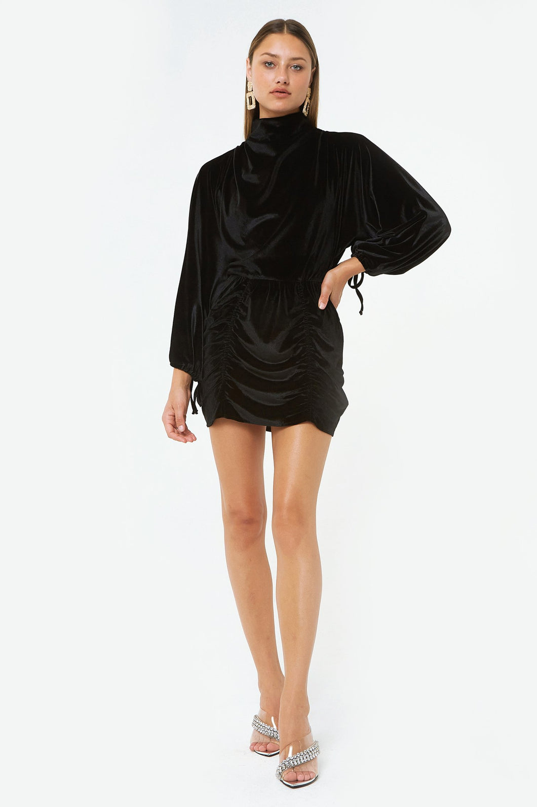 Black L/S Velvet Mini Dress