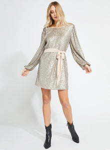 Platinum Sequin L/S Dress w/ Chiffon Belt