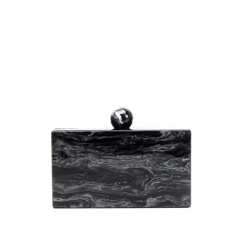 Rectangle Blk Marble Clutch