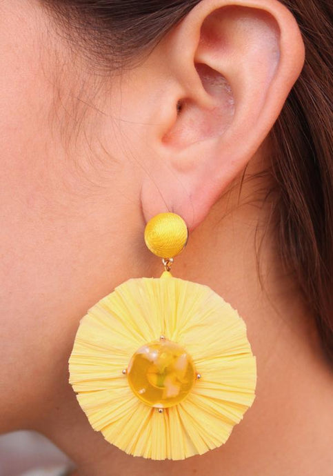 Louanne Raffia Fan Drop Earring