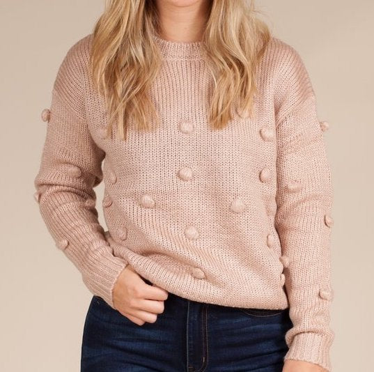 Rose Sweater with Pom Poms