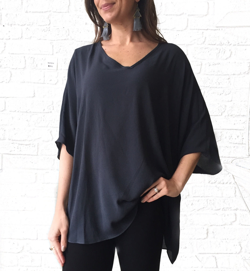 Charcoal V-neck Tunic Blouse-GD