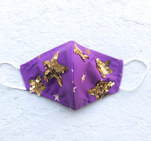 Purple & Gold Star Adult Mask