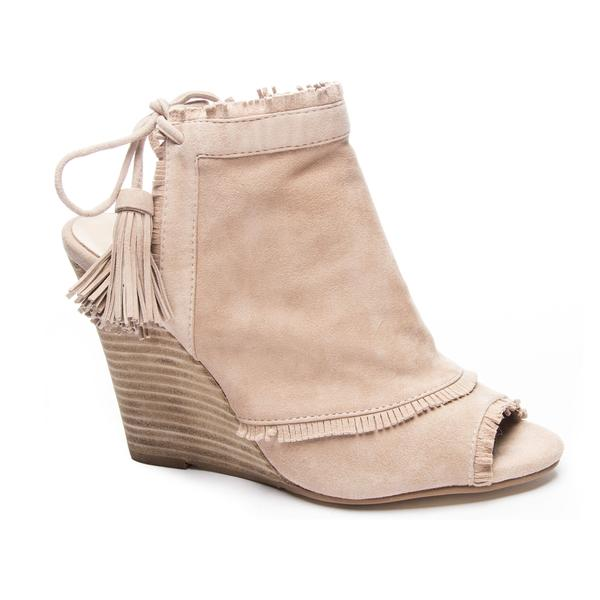 Tan Peep Toe Tie Back Wedge