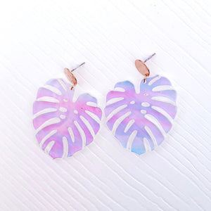 Iridescent Leaf Earrings
