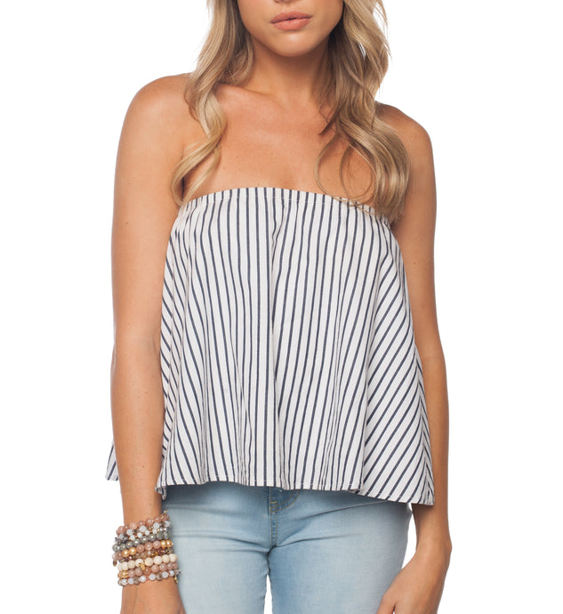 Staniel Stripe Strapless Top