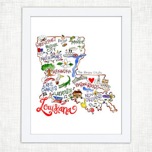 8x10 Louisiana Map Watercolor Print