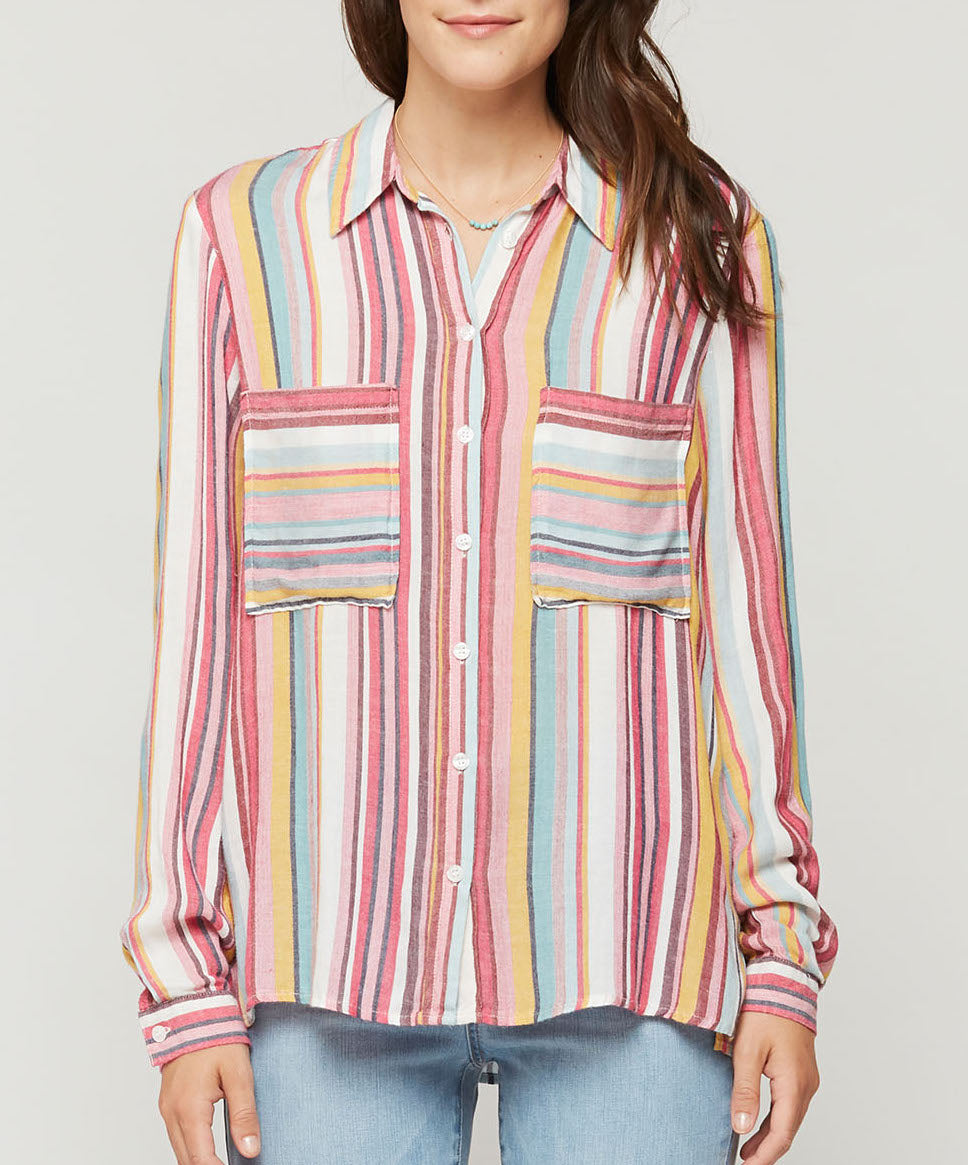 Pink Multi Stripe Button Up