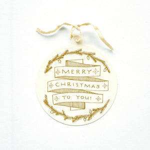 Merry Christmas Gold Foil Gift Tag