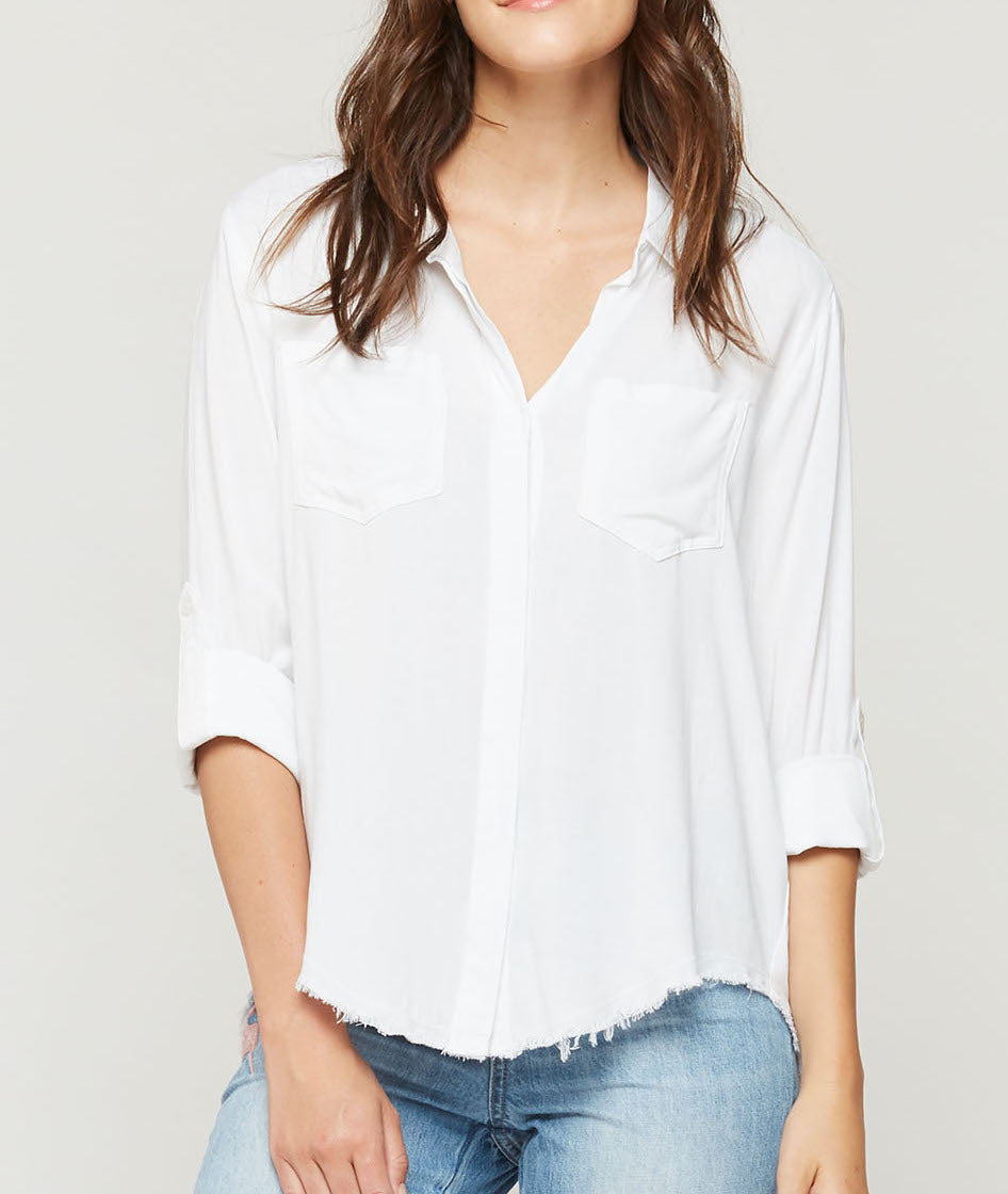 White Frayed Bottom Button Up