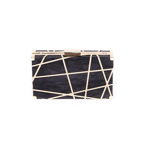 Black Mixed Lines Clutch