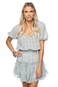 Grey Scale Elastic Waist Mini Dress
