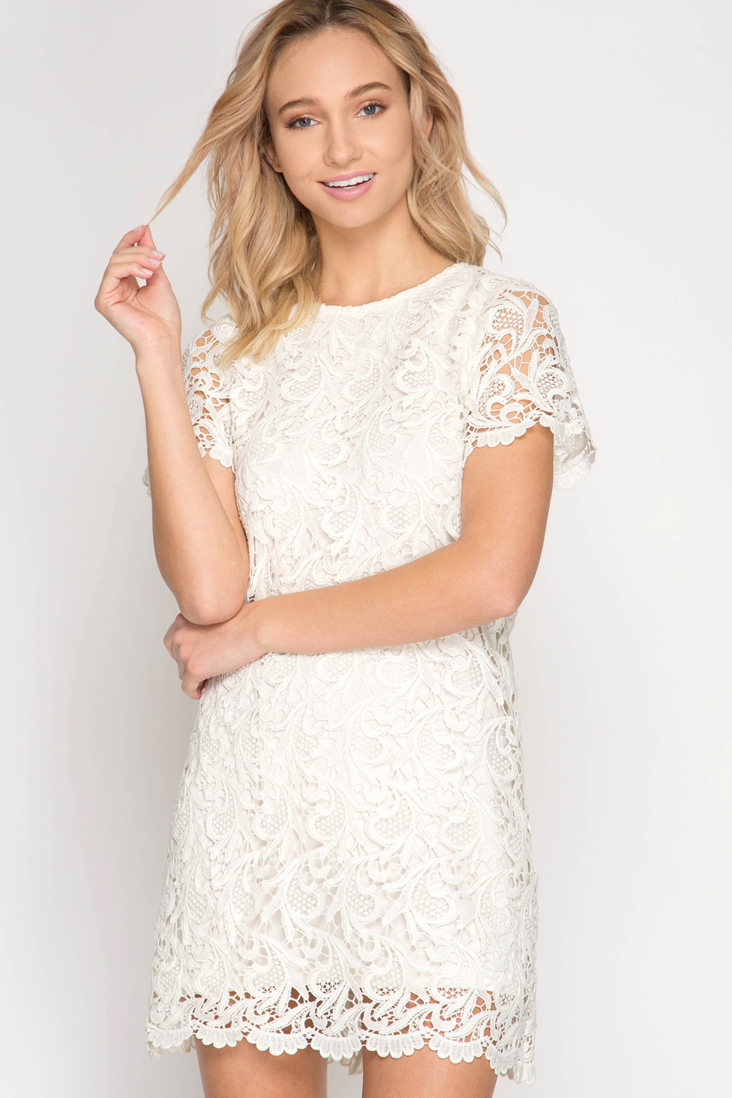 GD Cream Crochet Lace Shift Dress