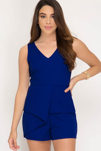 GD Royal Blue S/L Knit Romper