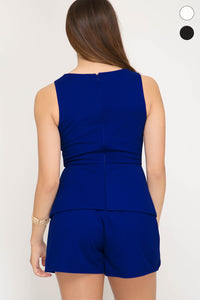 MR Royal Blue S/L Knit Romper