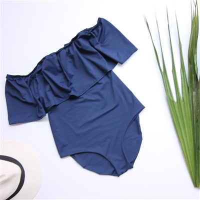 Navy Off Shldr One Piece