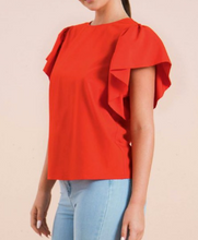 Red Flutter Sleeve Top