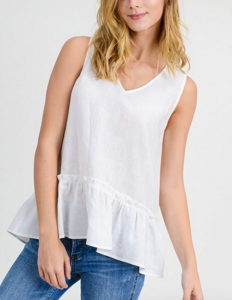 Washed White Linen S/L Top