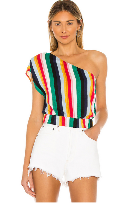 One shoulder Stripe Top