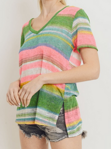 Multi Stripe V-neck S/S Top