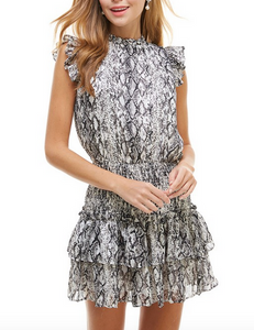 Black/White Snake Smocked Waist Dress