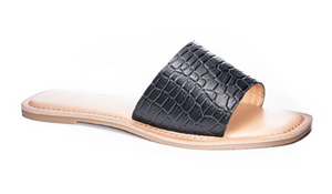 Black Croc One Strap Slide