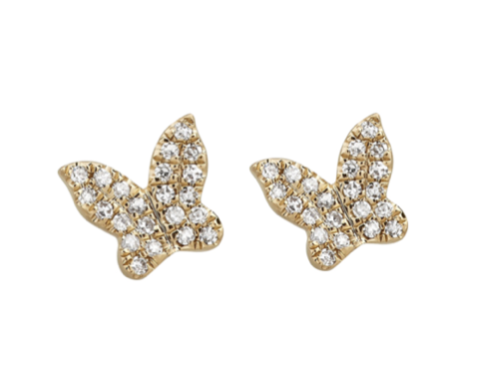 Micro Pave Butterfly Studs