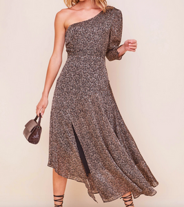 Brown Leopard One Shldr Dress