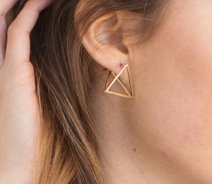 Gold 3D Triangle Earring