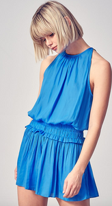 Blue Pleated Romper