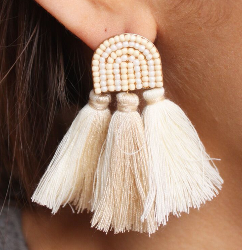 2 Tone Fabric Tassel Earring