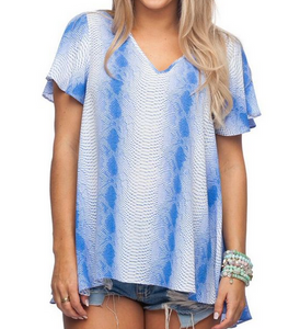 Mamba Blue Snakeskin Top