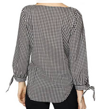 GD Check Tie Sleeve Blouse