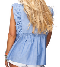 Blue w/ White Embroid Top