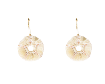 MR-Wht Star Tassel Hoop Earring