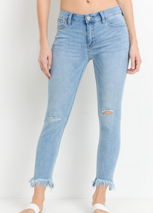 MR-Lt. Denim Mid Rise Skinny w/ Frayed Hem