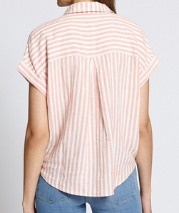 Pink Stripe Button Down Tie Top