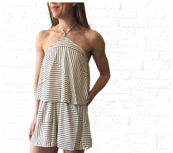 MR Stripe Halter Romper