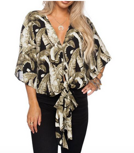 FQ Black Palm Tie Top