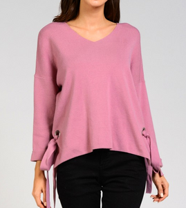 MR Mauve Side Knot Tie Sweater