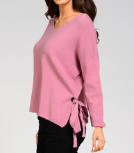 GD Mauve Side Knot Tie Sweater