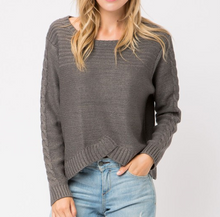 Cropped Cable Knit Pullover